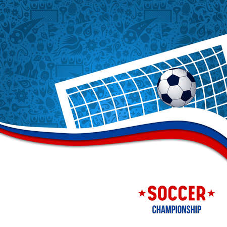 Soccer game illustration for event with football goal post and traditional background in russian colors. Vectores