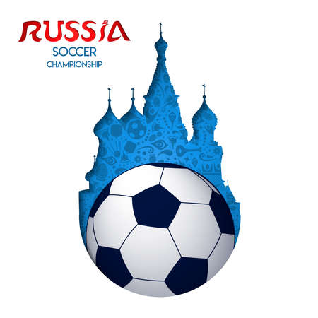 Russian event paper cutout of moscow cathedral and football ball with russia typography quote.