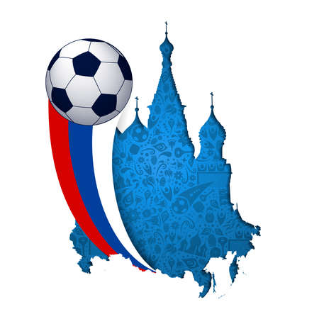 Russia soccer illustration, paper cutout design of famous Moscow landmark with russian flag colors. Illustration