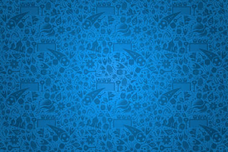 Russia symbol decoration background in blue color. Traditional russian culture elements template for sport event.