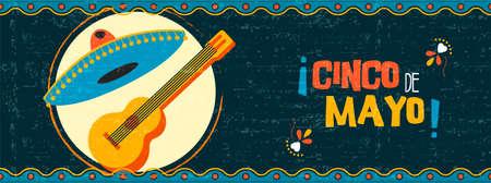 Glückliche Parteiillustration Cinco Des Mayo mit traditioneller mexikanischer Feiernetzfahne der Mariachigitarre und -hutes auf Weinlesehintergrund. Vektorgrafik