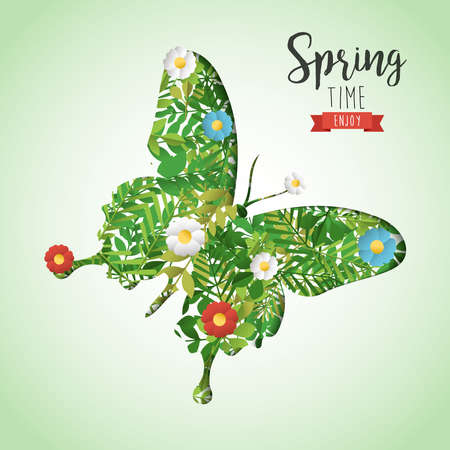 Spring time paper art cutout illustration for seasonal celebration. Butterfly greeting card with green leaves and flowers. EPS10 vector.