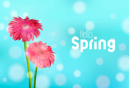 Hello Spring greeting card illustration with pink daisy flowers and blue sky background.