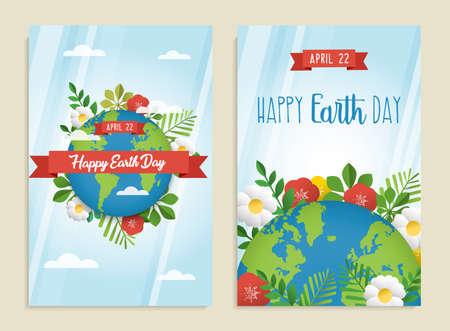 Szczęśliwy dzień ziemi kartkę z życzeniami zestaw zielonej planety z liśćmi, kwiatami i wiosenną dekoracją. Ekologiczne plakaty na rzecz ochrony środowiska. Eps10 wektor.