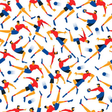 Soccer player seamless pattern with men playing sports in athletic poses. Sport game illustration background of football team, flat style art.