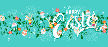 Happy Easter holiday typography quote with eggs, rabbit and spring decoration background. Horizontal format card design ideal for web banner. EPS10 vector. Illustration