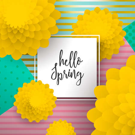 Hello Spring greeting card illustration for seasonal celebration. Çizim