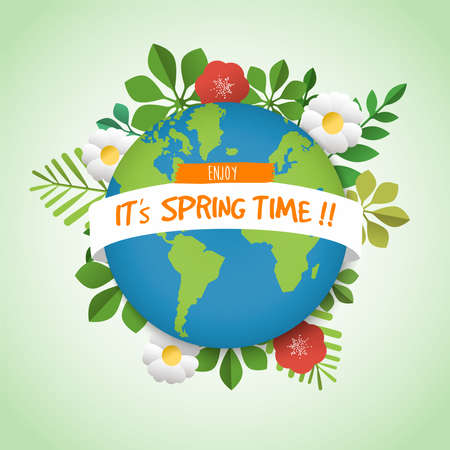 Spring time illustration for seasonal celebration. Green planet earth greeting card with plant leaves and flowers. EPS10 vector. Illustration
