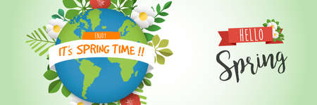 Spring time illustration for seasonal celebration. Green planet earth web banner with plant leaves and flowers. EPS10 vector. Illustration
