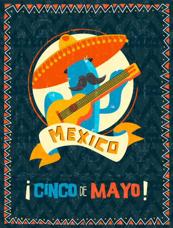Happy Cinco de Mayo party poster. Traditional mexican celebration illustration of funny mariachi cactus with vintage texture. EPS10 vector.
