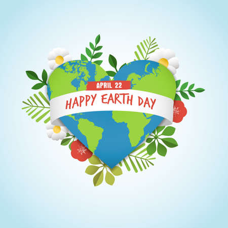 Happy Earth Day greeting card of green planet in heart shape with nature decoration. Includes leaves, flowers and world map for eco friendly celebration. EPS10 vector.