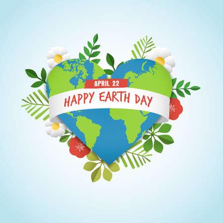 Kartkę z życzeniami szczęśliwego dnia ziemi z zieloną planetą w kształcie serca z dekoracją natury. Zawiera liście, kwiaty i mapę świata do ekologicznego świętowania. Eps10 wektor.