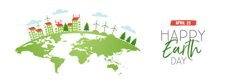 Happy Earth Day web banner illustration with green planet and houses using clean energy.