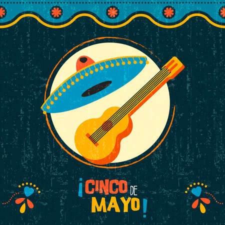 Happy Cinco de Mayo party poster. Traditional mexican celebration illustration of mariachi guitar and hat on vintage background. EPS10 vector.