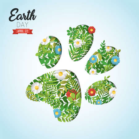 Happy Earth day paper art cut out illustration for eco-friendly celebration. Animal foot print with green leaves and flowers, environment conservation awareness. Endangered species help concept.