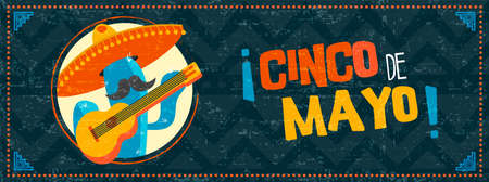 Happy cinco de mayo holiday illustration. Festive mexican event web banner with funny mariachi cactus and vintage background. EPS10 vector. Illustration