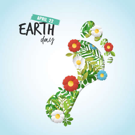 Happy Earth day paper art cutout illustration for eco friendly celebration. Human feet with green leaves and flowers, environment conservation awareness. Carbon footprint reduction concept. EPS10 vector.
