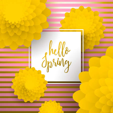 Hello Spring greeting card illustration with beautiful 3d paper art flowers on luxury gold background. Çizim