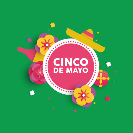 Happy Cinco de Mayo greeting card in 3d paper art style for holiday event. Colorful flowers and mexican decoration with typography quote. EPS10 vector.