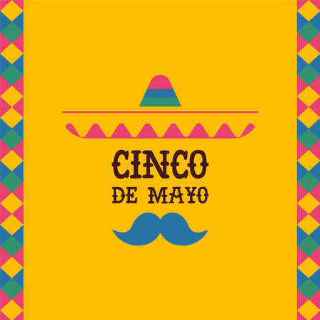 Happy Cinco de mayo greeting card with mexican mariachi singer and holiday typography quote. Traditional mexico event illustration. EPS10 vector.