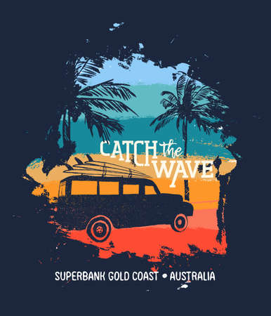Summer vacation in Superbank Gold coast, Australia. Holiday illustration with text quote, car and surf boards on tropical beach. Vintage texture design for textile print, card or poster. EPS10 vector. Illustration