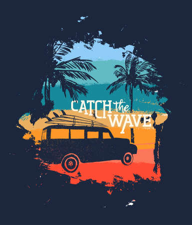 Summer vacation illustration with text quote, car and surf boards in tropical beach coast. Vintage texture design ideal for textile print, greeting card or poster. EPS10 vector.