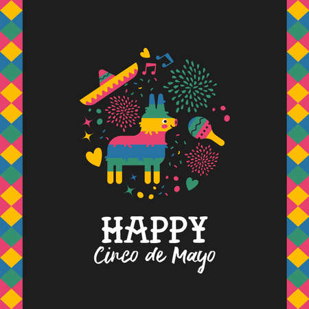 Happy Cinco de Mayo greeting card for traditional mexican holiday with cute donkey pinata and hand drawn elements. Festive mexico culture illustration. EPS10 vector.