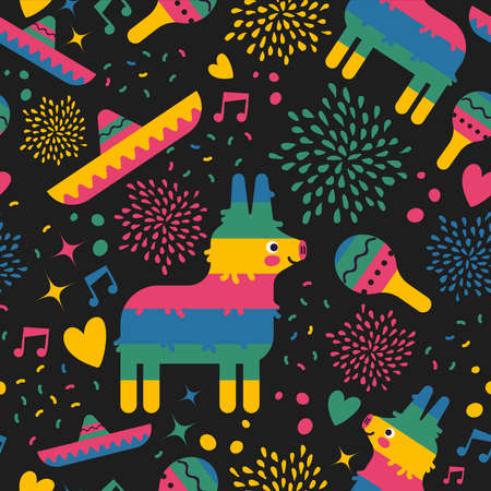 Mexican seamless pattern of colorful mexico culture icons for holiday party or special event. Includes cute pinata, mariachi hat, maracas and hand drawn decoration. EPS10 vector.