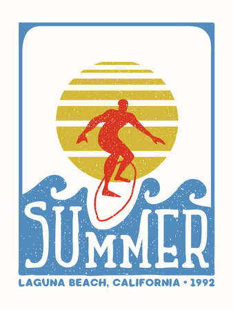 Surfer man grunge stamp illustration from California beach. Vintage surf label with boy surfing ocean wave in hand drawn style. EPS10 vector.