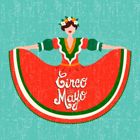 Happy Cinco de mayo greeting card for traditional mexican party celebration. Special event illustration of latin woman dressed in classic mexico dress. EPS10 vector. Vettoriali