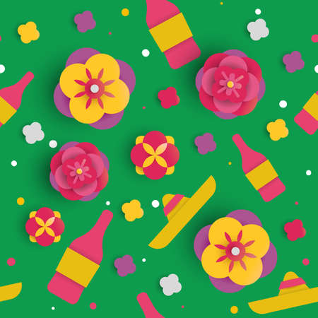 Cinco de Mayo seamless pattern for mexican holiday event. 3d background made of paper cut flowers, mariachi hat and party drinks. EPS10 vector.