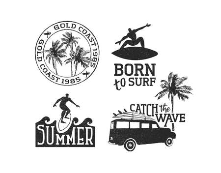 Vintage summer time label decoration set with surf quotes in grunge style isolated over white. Beach and surfing collection of typography text emblems. EPS10 vector. Иллюстрация