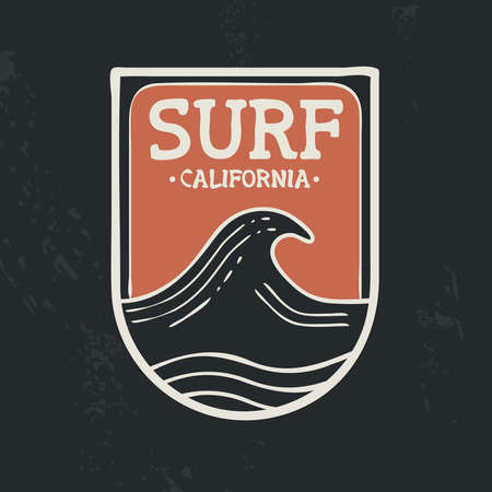 Surf in California beach stamp illustration with ocean wave, hand drawn style and grunge texture background. Ideal for t shirt textile print, greeting card or poster. EPS10 vector.