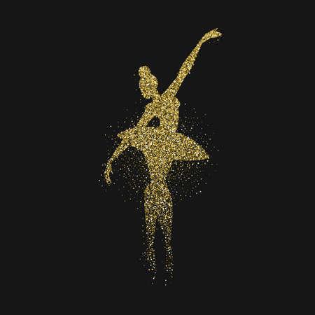 Classic ballet dancer silhouette made of gold glitter splash. Golden ballerina woman dancing in action on black background. EPS10 vector. Illustration