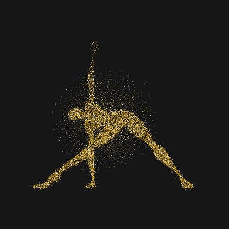 Yoga pose silhouette made of gold glitter dust on black background. Golden color man doing meditation exercise. EPS10 vector.