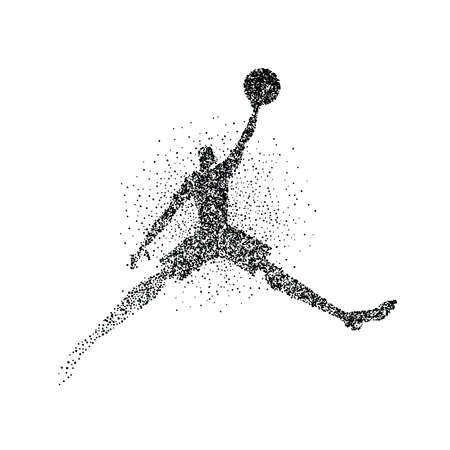 Basketball player silhouette made of black particle splash on isolated background. Abstract athlete man in action with basket ball. EPS10 vector. Vettoriali
