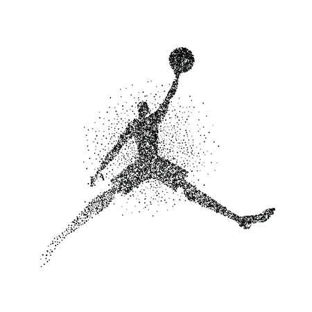 Silhouette de joueur de basket-ball faite d'éclaboussures de particules noires sur fond isolé. Homme athlète abstrait en action avec ballon de basket. vecteur EPS10.