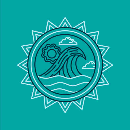 Summer beach vacation icon in modern flat line art style with ocean waves and abstract frame decoration. EPS10 vector.