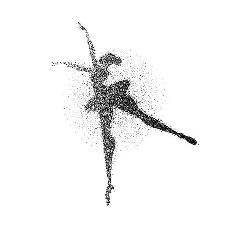 Girl silhouette dancing classic ballet made of particle splash. Ballerina dancer pose in motion. EPS10 vector.