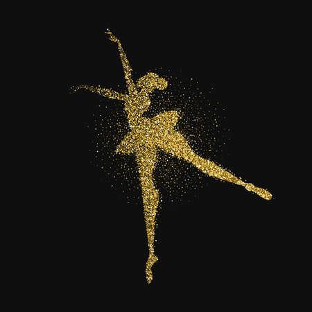 Girl silhouette dancing classic ballet made of gold glitter splash. Ballerina dancer pose in golden color. EPS10 vector.