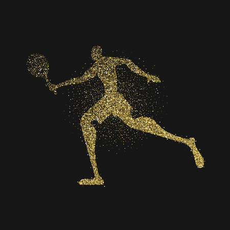 Tennis player silhouette made of gold glitter splash on black background. Golden color athlete man running with racket. EPS10 vector. Illustration