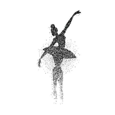 Girl silhouette dancing classic ballet made of particle dust splash. Ballerina dancer pose in action. EPS10 vector.
