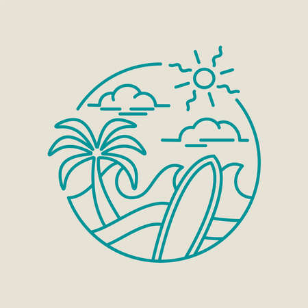 Summer vacation line art icon in modern flat style. Paradise beach illustration with palm trees, ocean waves and surfboard. EPS10 vector.
