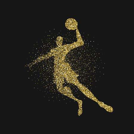 Basketball player silhouette made of gold glitter dust splash on black background. Golden color athlete man jumping with basket ball. EPS10 vector.