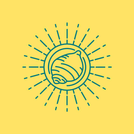 Beach sea shell icon in modern flat line art, summer vacation concept with sun shape frame. EPS10 vector.