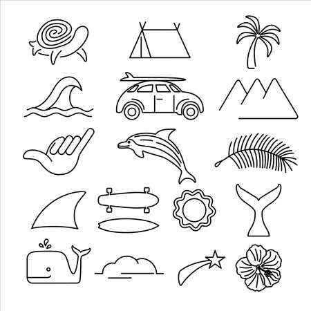 Summer icon set in modern line art style, big beach vacation symbol collection. Includes retro car, dolphin, surf elements and tropical plants. EPS10 vector.