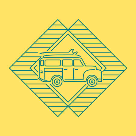 Surf van taking surfboards to the beach, icon design in modern flat line art style for surfing holiday. Abstract frame decoration with vintage car. EPS10 vector.