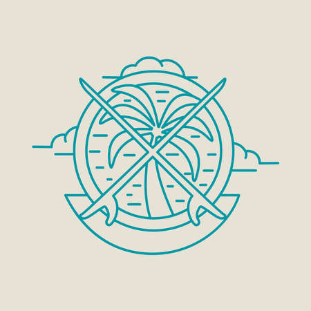 Summer vacation line art icon in modern flat style. Paradise beach illustration with palm tree and surfboard. EPS10 vector.
