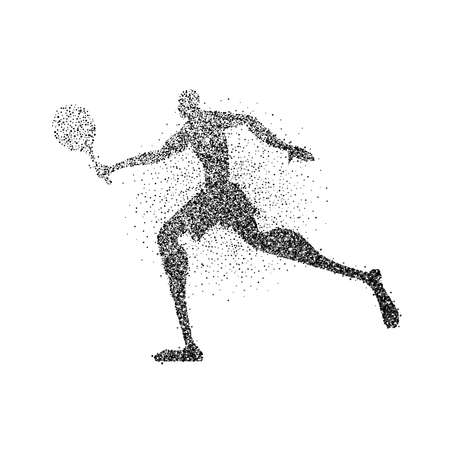 Tennis player silhouette made of black particle splash on isolated background. Abstract athlete man running with racket. EPS10 vector. Illustration