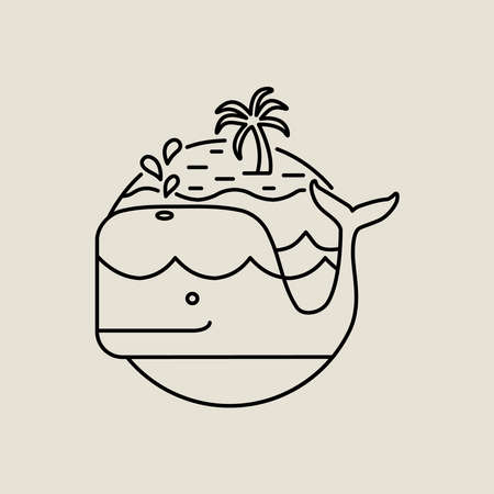 Summer island line art icon in modern flat style. Beach whale illustration with palm tree and ocean waves. EPS10 vector.
